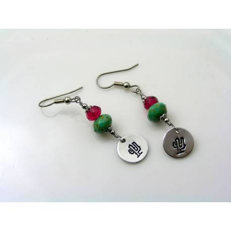 Hand Stamped Cactus and Czech Glass Bead Earrings