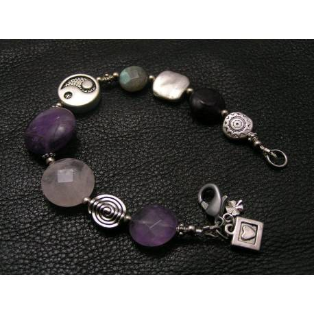 Yin Yang Bracelet with Amethyst, Rose Quartz and Labradorite