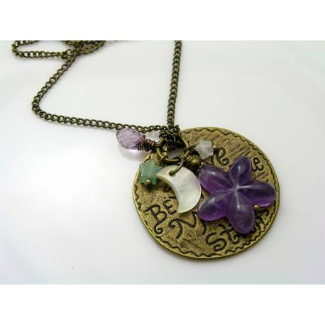 Moon Necklace with Gemstone Stars and MoP Crescent Moon