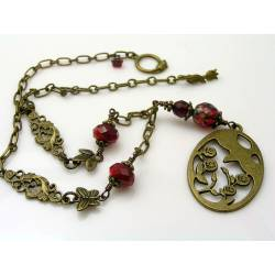 Thorn Bird and Roses Necklace, Red Crystal