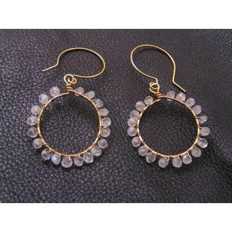 Rainbow Moonstone Gold Halo Earrings