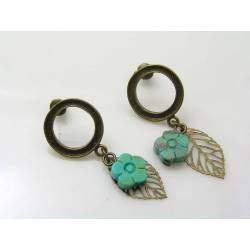 Carved Turquoise Flower and Leaf Stud Earrings