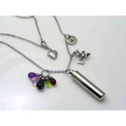 Urn Necklace with Gemstones and Charms
