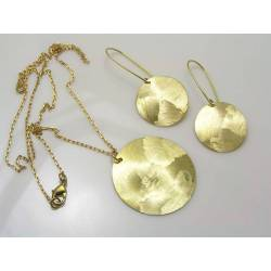 Textured Brass Earrings and Necklace Set