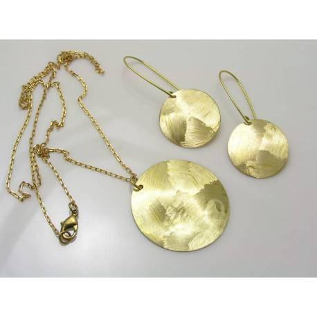 Textured Brass Disc Earrings and Necklace Set