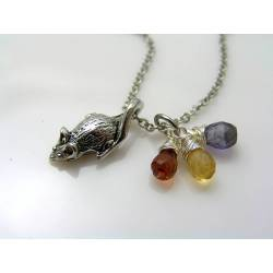 Rat Necklace, Citrine and Amethyst