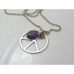 Peace Sign Body Necklace with Amethyst