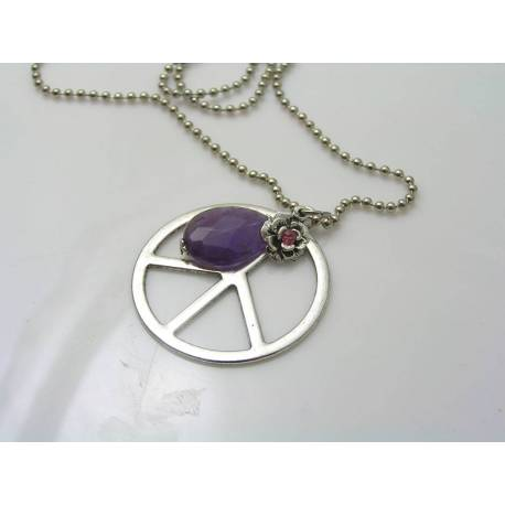 Large Peace Sign Body Necklace with Amethyst