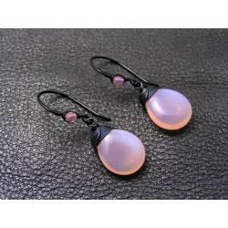 Pink Opal Czech Glass Drop Earrings