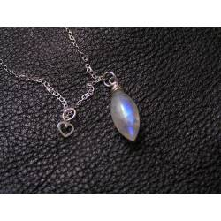 Rainbow Moonstone and Heart Sterling Necklace