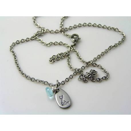 Cat Necklace with Blue Topaz
