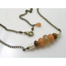 Moonstone, Bronzite, Aventurine and Pearl - Station Necklace