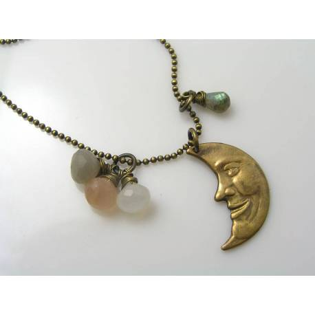 Moonstone and Crescent Moon Pendant Necklace
