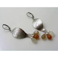 Peach, Grey and White Moonstone Leaf Earrings