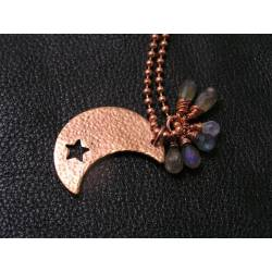 Solid Copper Moon, Labradorite and Moonstone Necklace