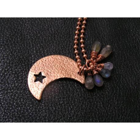 Solid Copper Moon, Labradorite and Moonstone Necklace