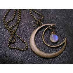 Rainbow Moonstone and Iolite Moon Charm Necklace