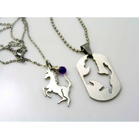 Matching Couple Necklaces with Horse Pendants