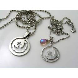 Matching Couple Necklaces with Crescent Moon and Stars