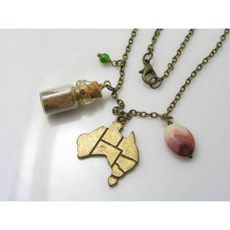 Australia Necklace with Map Pendant, Glass Bottle with Soil and Gemstones