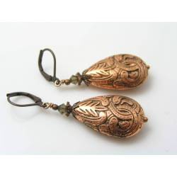 Ornate Copper Brown Lucite Earrings