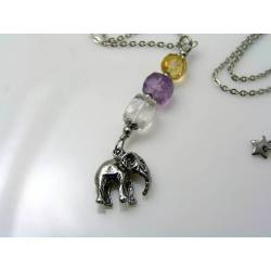 Elephant Necklace, Rock Quartz, Amethyst and Citrine