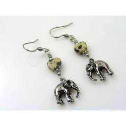 Elephant Earrings, Leopard Jasper