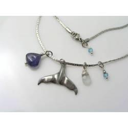 Whale Tail Necklace with Iolite, Aquamarine and Mystic Quartz