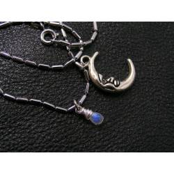 Cute Silver Moon Necklace with Moonstone