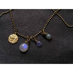 Moonstone Charm Necklace with Tanzanite and Labradorite