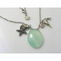 Sea Foam Chalcedony Necklace with Ocean Charms