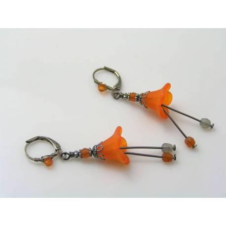 Orange Lucite Flower Earrings