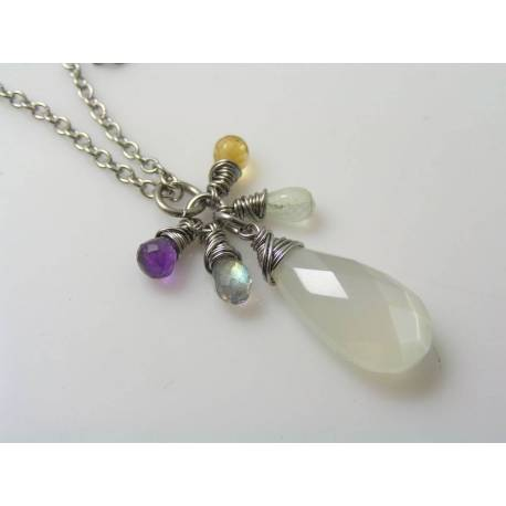 Large Moonstone and Gemstone Cluster Necklace