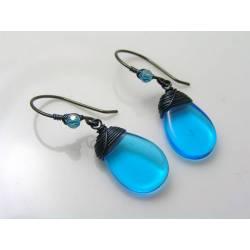 Tropical Blue Drop Earrings, Wire Wrapped Czech Glass Earrings