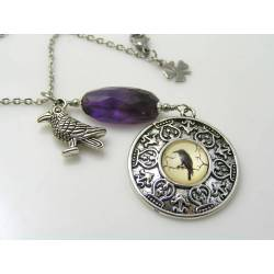 Magical Raven Necklace with Faceted Amethyst