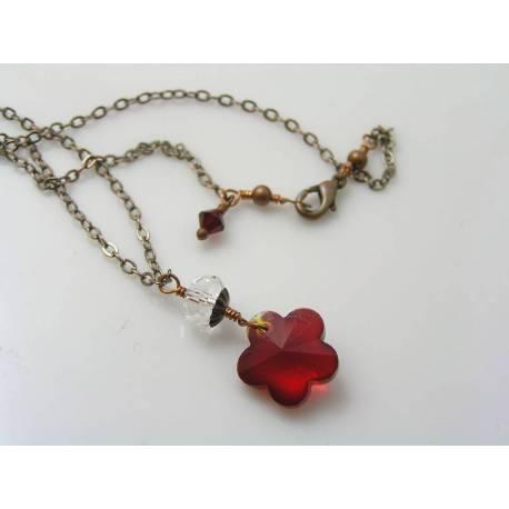 Crystal Flower Necklace, Swarovski Crystals
