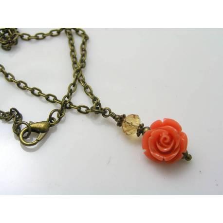 Prasiolite, Amethyst and Antique Copper Branch Necklace