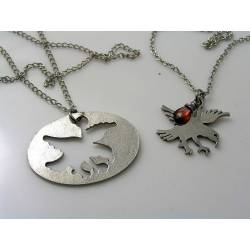 Matching Couple Necklaces with Eagle Pendant and Garnet