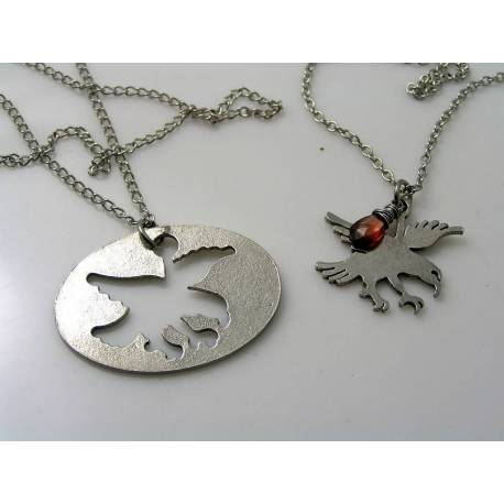 Couple Necklaces with Eagle Pendants and Garnet