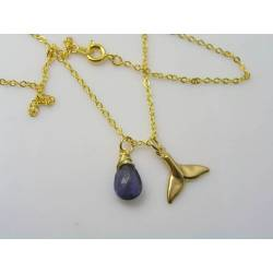 Whale Tail, Iolite and Aquamarine Necklace