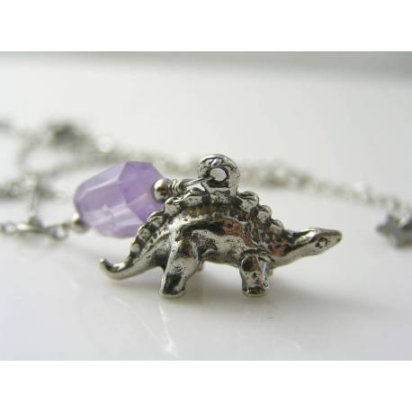 Dinosaur Necklace with Natural Zircon