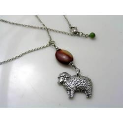 Merino Sheep Pendant, Australian Necklace with Mookaite and Chrysoprase