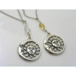 Sun and Moon Necklaces with Citrine and Ice Quartz