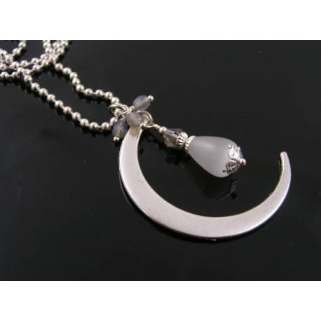 Crescent Moon Necklace with Cat's Eye Drop and Crystals