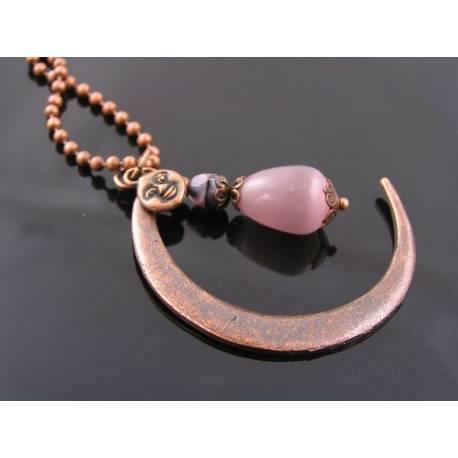 Large Copper Crescent Moon Necklace