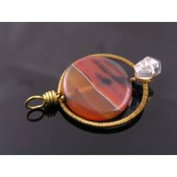 Wire wrapped Agate and Rock Quartz Pendant