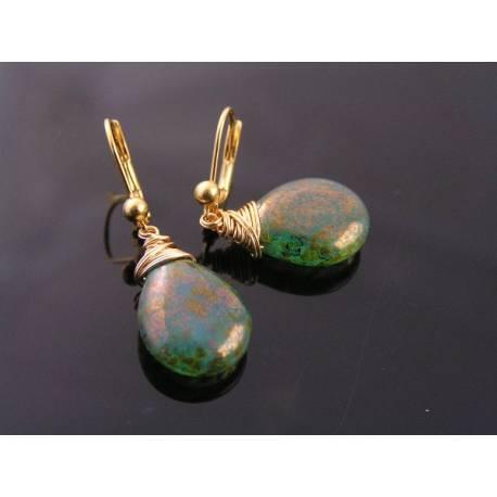 Green Golden Czech Glass Drop Earrings