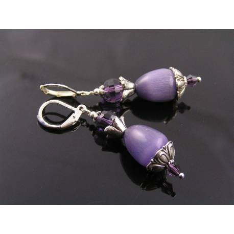 Lilac Cats Eye Earrings
