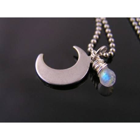 Cute Crescent Moon and Rainbow Moonstone Necklace