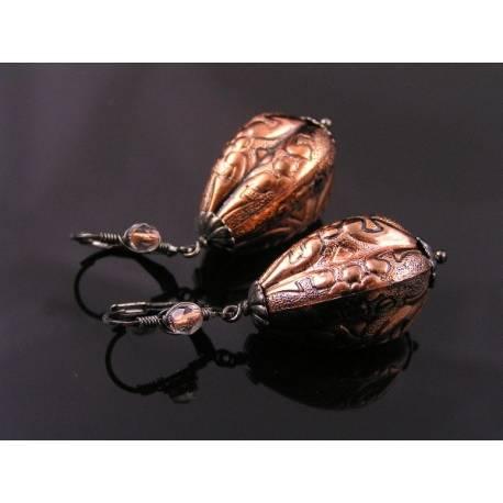 Vintage German Copper Lucite Earrings